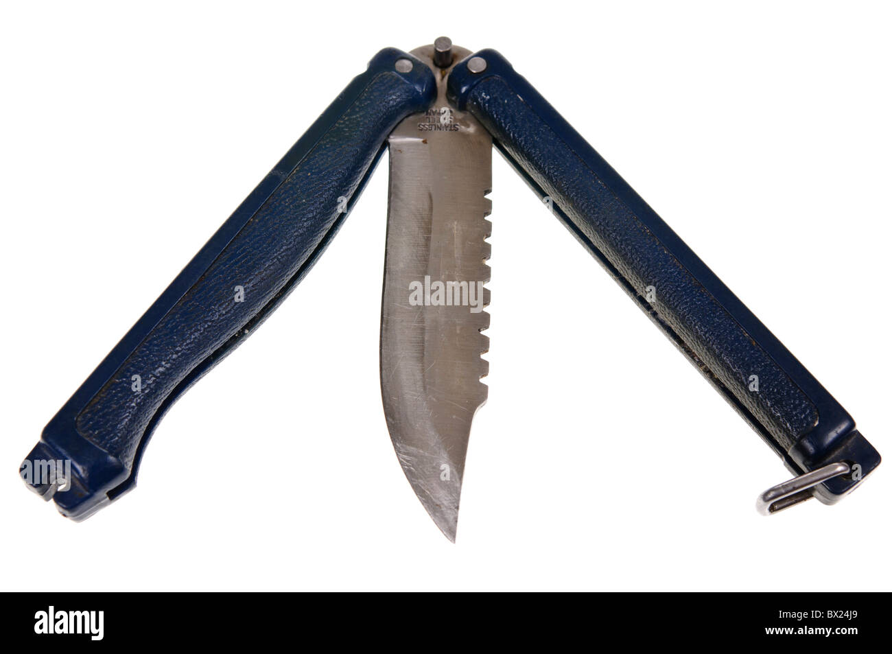 Balisong, otherwise known as a Butterfly Knife, illegal in many countries including the UK - Stock Image