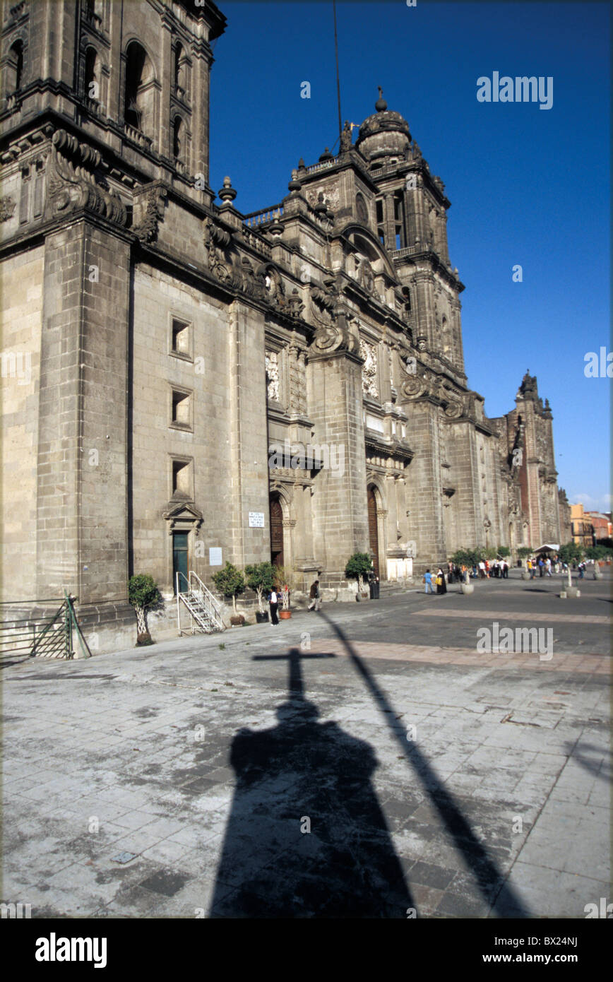 Catedral Metropolitana cathedral facade place Mexico Central America America city Mexico Central America Amer - Stock Image