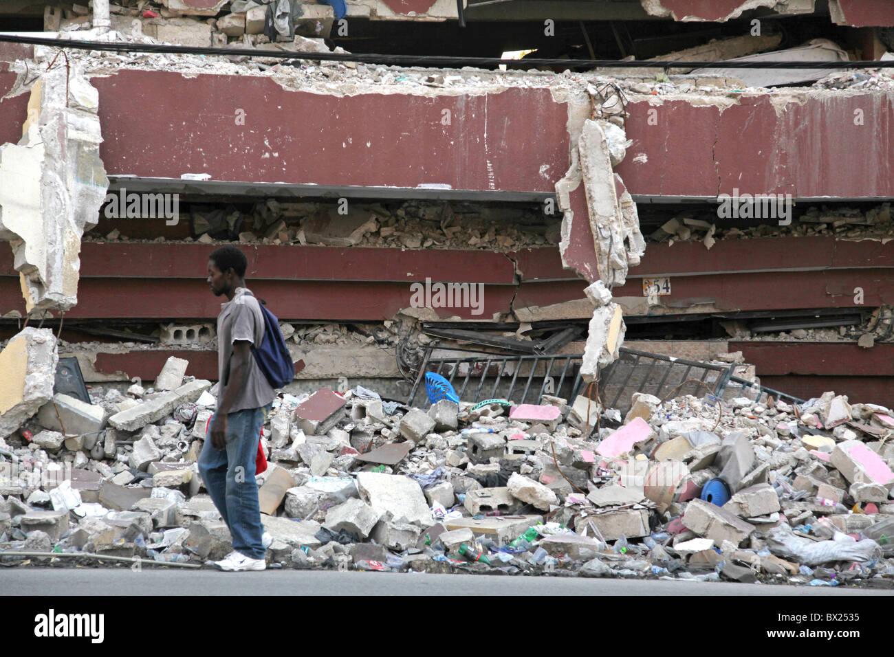 Earthquake damage, Port au Prince, Haiti - Stock Image