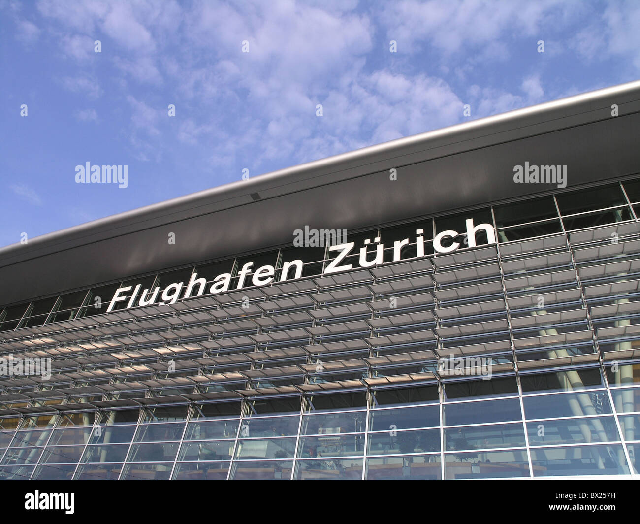 Airport of Zurich Airside center Architecture Aviation Building Buildings Color Colour Construction Modern - Stock Image