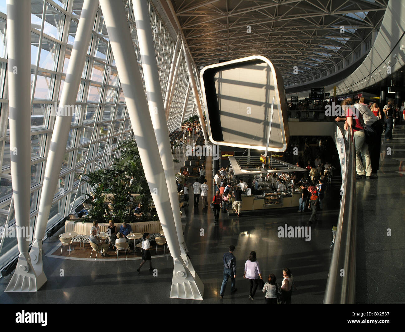 Airport of Zurich Airside center Architecture Aviation Building Buildings Color Colour Construction Hall I - Stock Image
