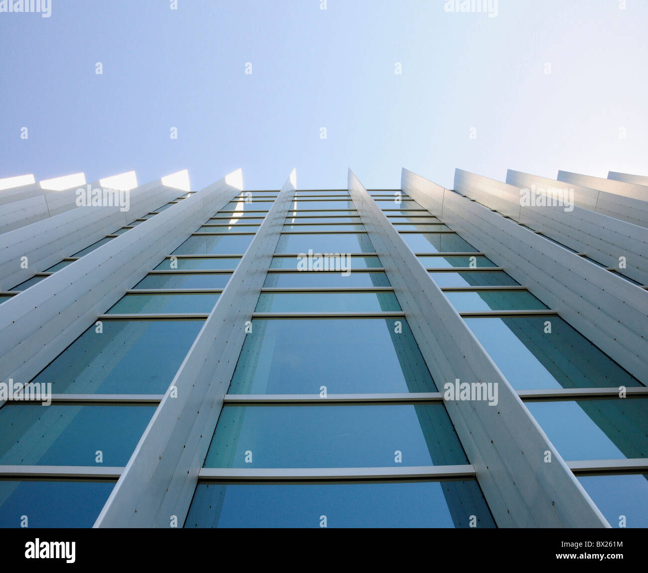 Exterior windows of a commercial office building looking up from the ground with blue sky reflected in windows - Stock Image