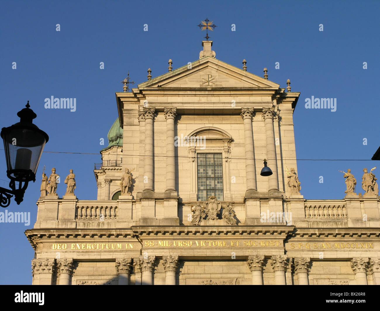 Church Cities City Color Colour Early classicism Facade Facades Lantern Solothurn Saint Ursen cathedral S - Stock Image