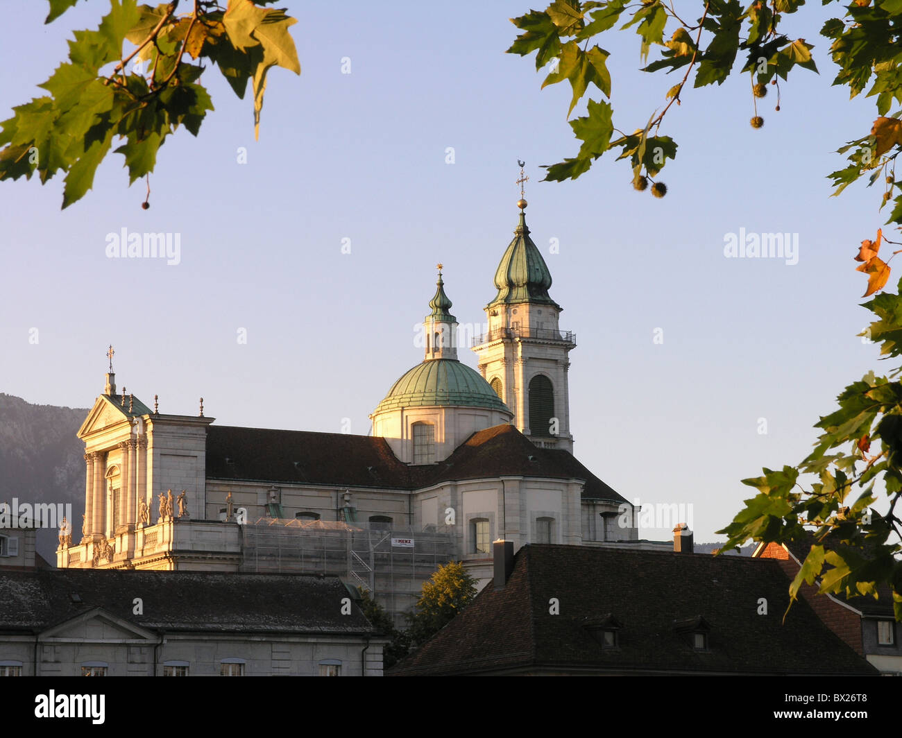 Church Cities City Color Colour Early classicism Leaves Solothurn old town Saint Ursen cathedral Switzerla - Stock Image
