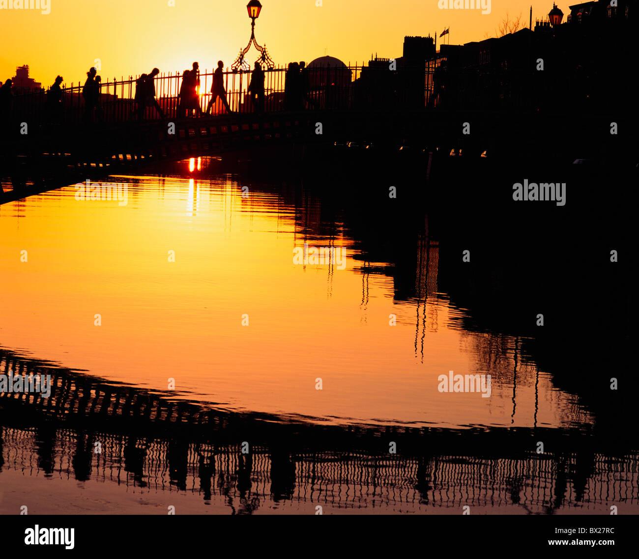 Dublin, Co Dublin, Ireland, Ha'penny Bridge, At Sunset - Stock Image