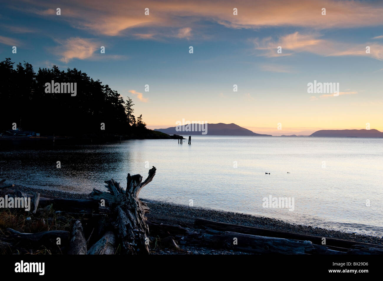 Sunset on a clear and calm autumn evening on Lummi Island, Washington in the Puget Sound area of the Pacific Northwest. Stock Photo
