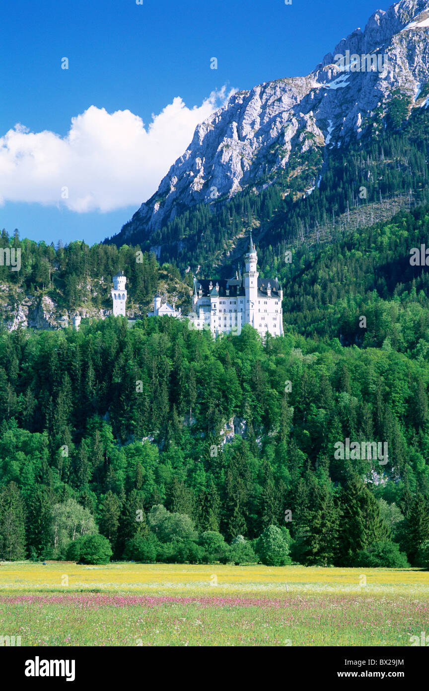 Alps Bavaria Bayern Built 1869 1886 castle Germany Europe Holiday King Ludwig II Mountains Neuschwanstein - Stock Image