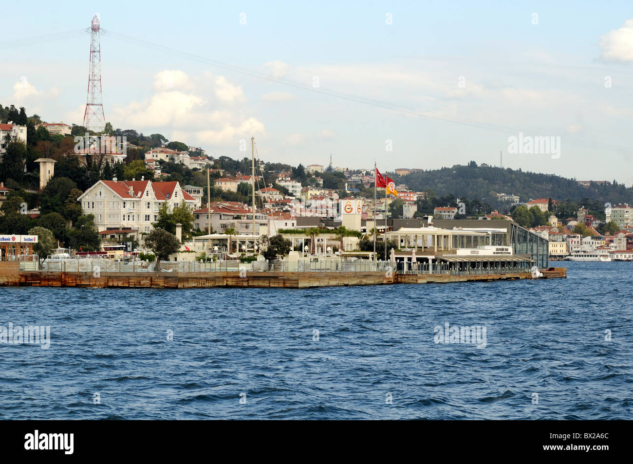 Galatasaray Adasi, a tiny island owned by the Galatasaray Sports Club, viewed from the Bosphorus, Istanbul, Turkey - Stock Image
