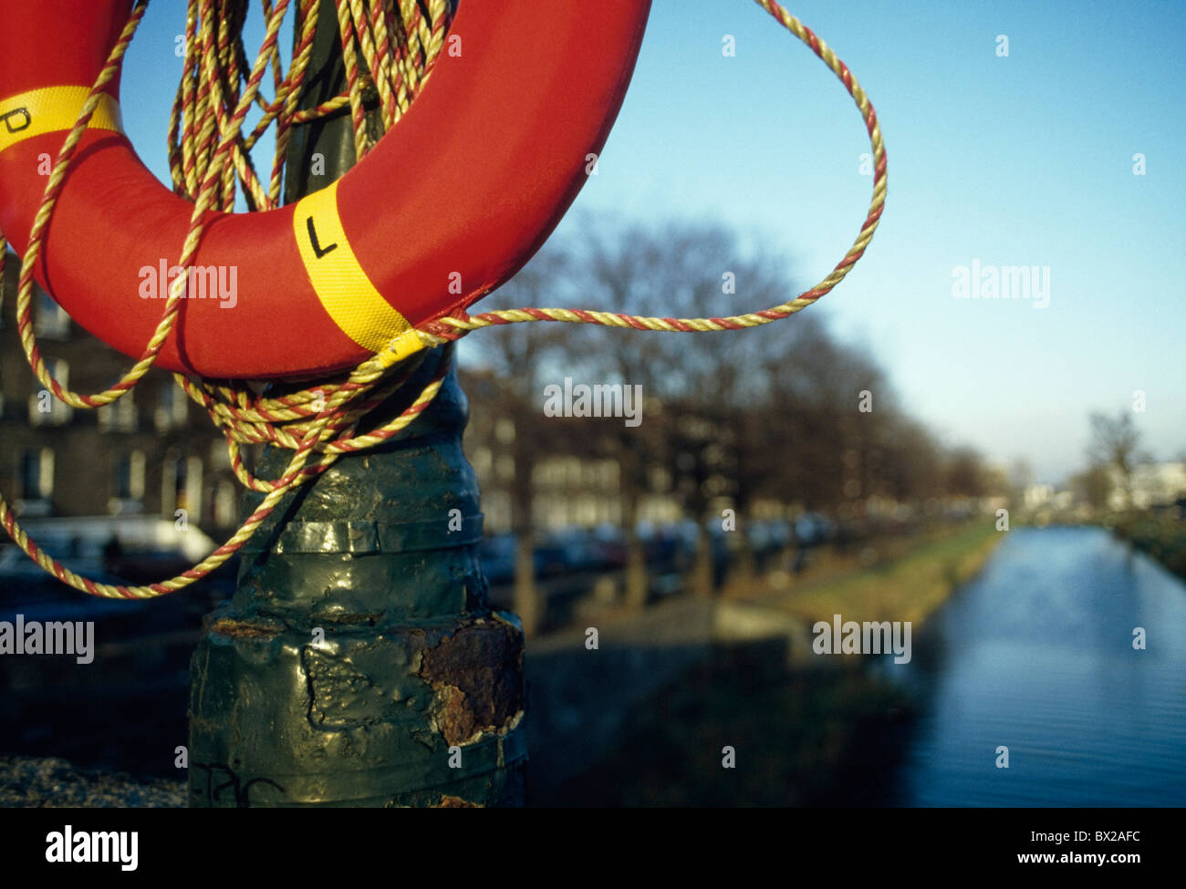 Grand Canal,Co Dublin,Ireland;View Of Canal,With Lifesaver In Foreground - Stock Image