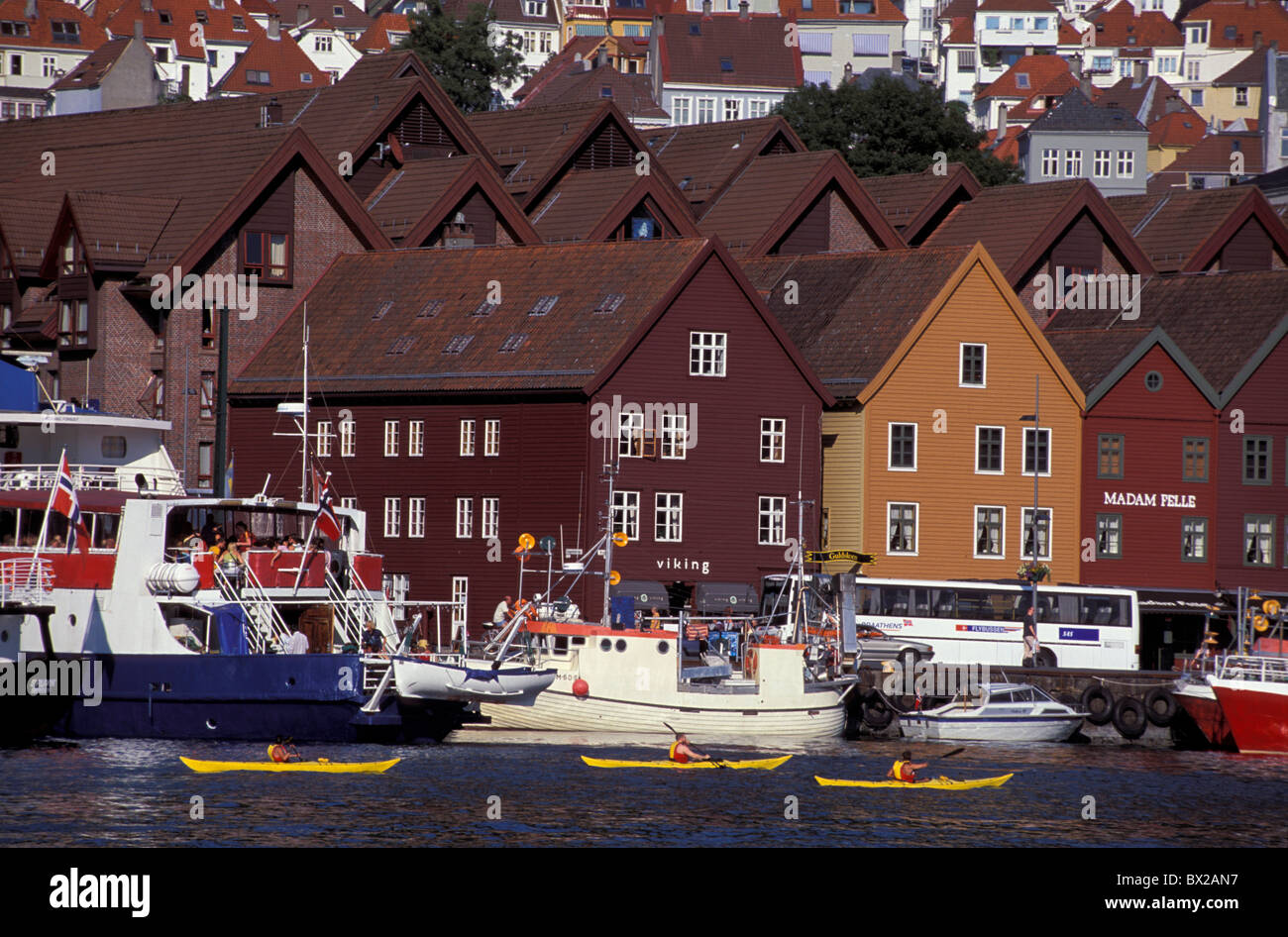 Bergen Bryggen Harbor quarter dock area Hanseatic city Horizontal Norway historical World Cultural Heritage - Stock Image