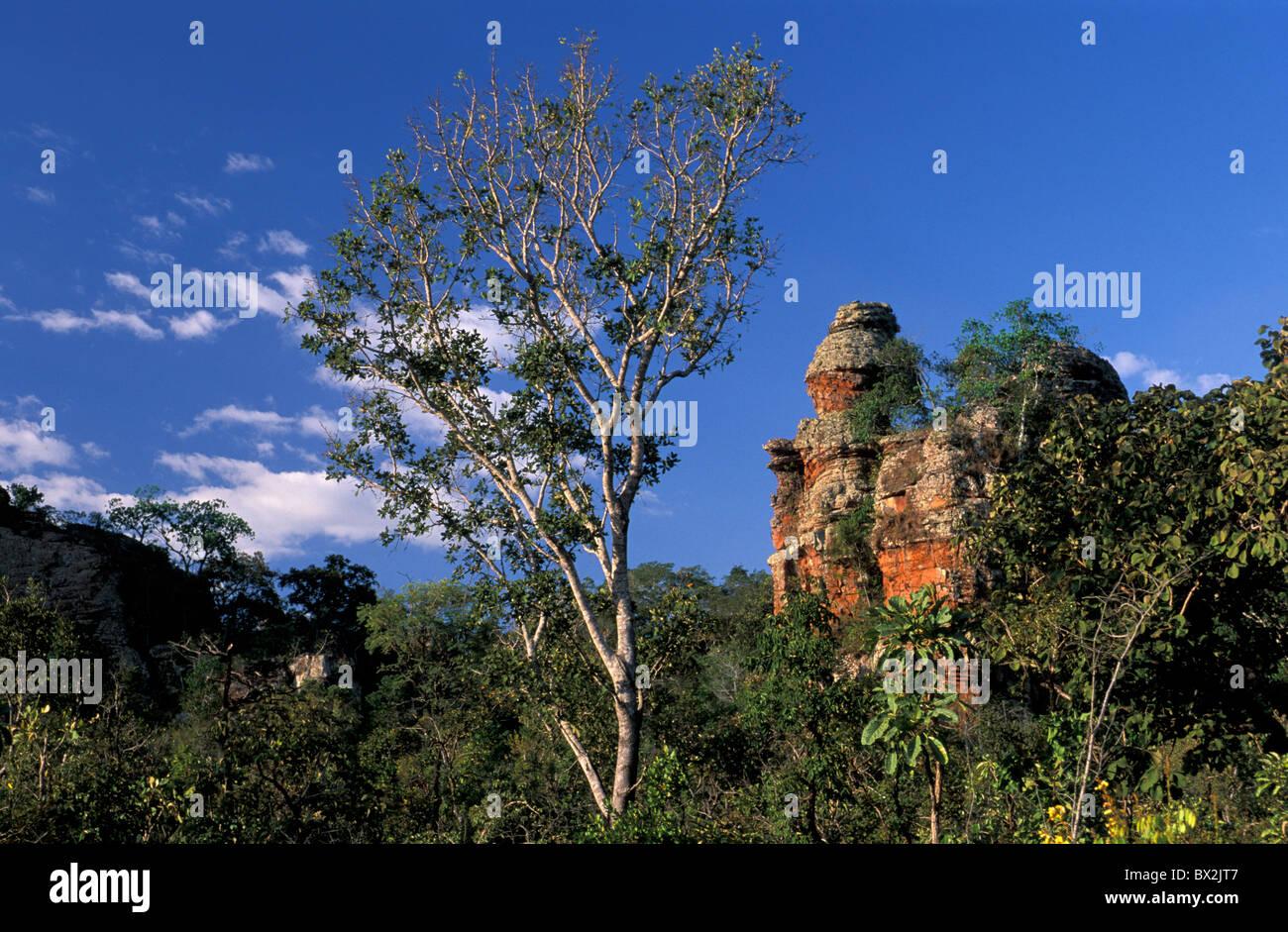 Rock Formations Chapada dos Guimares near Cuiaba Mato Gross Brazil South America landscape - Stock Image