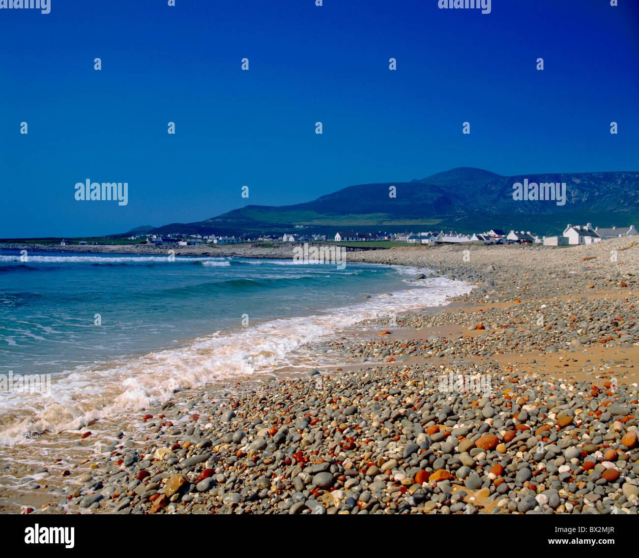Dooagh,Co Mayo,Ireland;Achill Island Beach With Croaghaun In Background - Stock Image