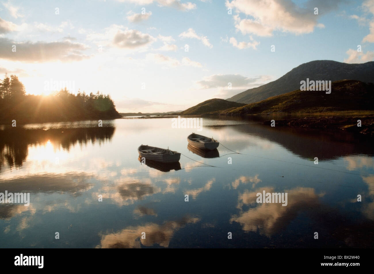 Boats On Ballynahinch Lake, Ballynahinch, County Galway, Ireland - Stock Image