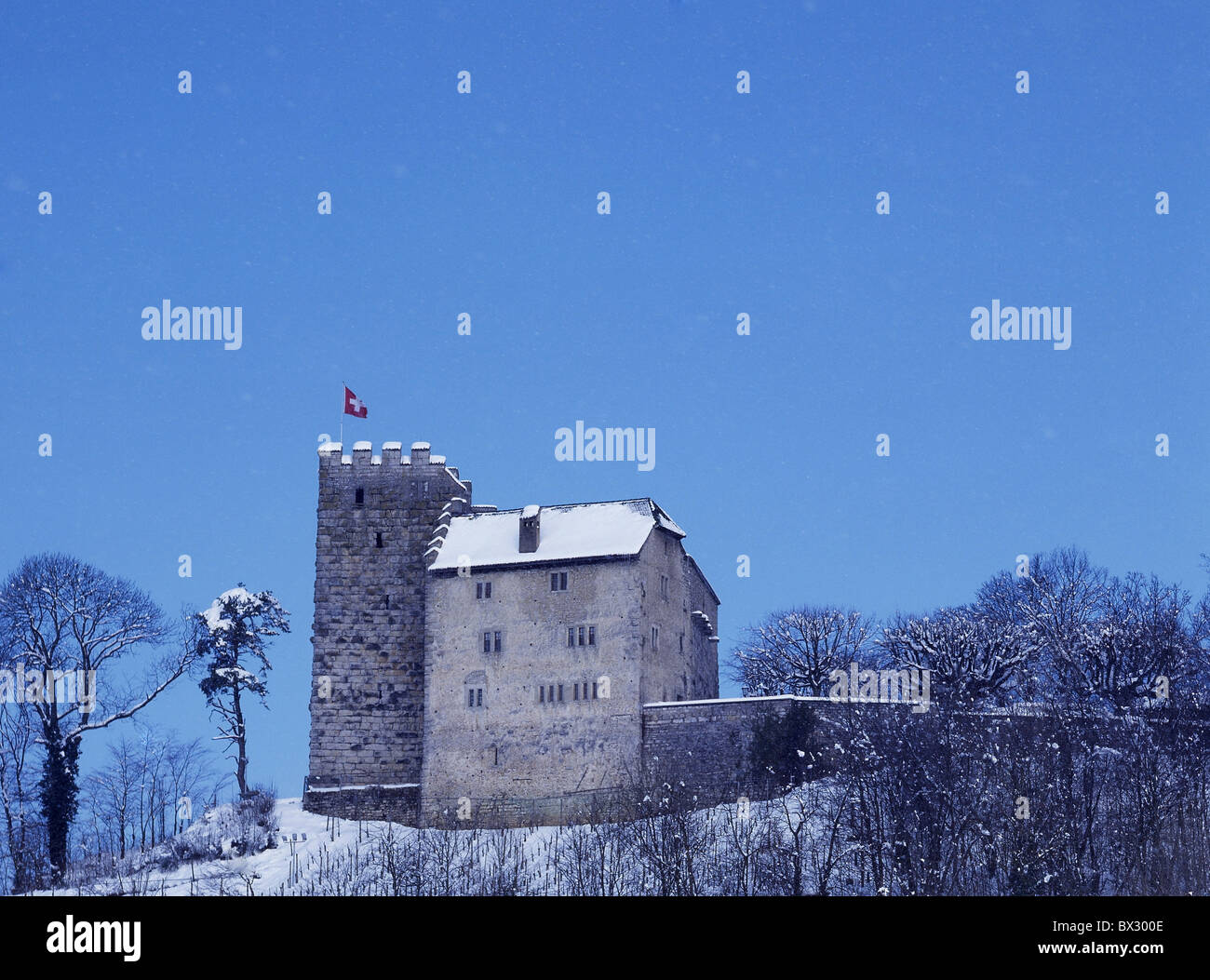 Habsburg castle fortress family castle Habsburger history winter snow canton Aargau Switzerland Europe - Stock Image