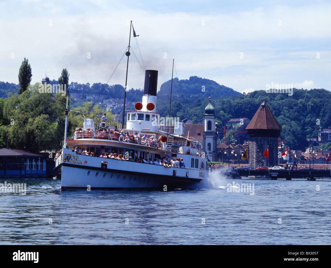 Lucerne town city steamboat Schiller paddle steamer Kapellbrucke Brucke chapel bridge lake Lake Lucerne Cen - Stock Image