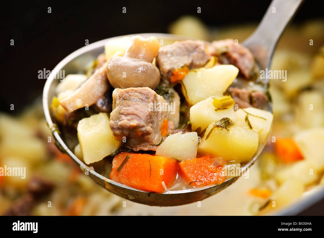 Hearty beef and potatoes stew with vegetables served with ladle - Stock Image