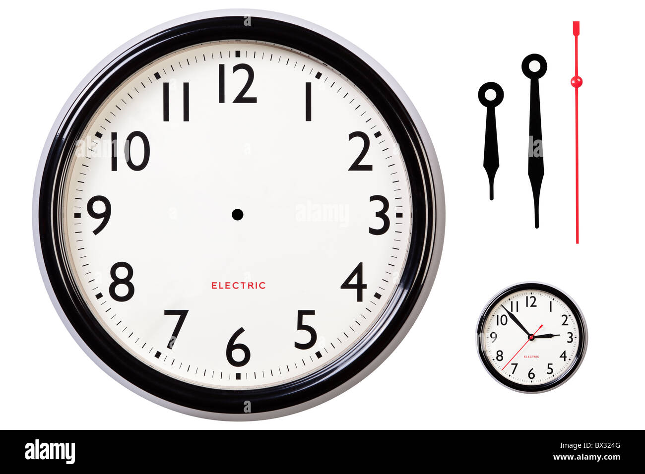 Photo of a blank electric clock face with arabic numerals plus hour, minute and second hands to make your own time. - Stock Image