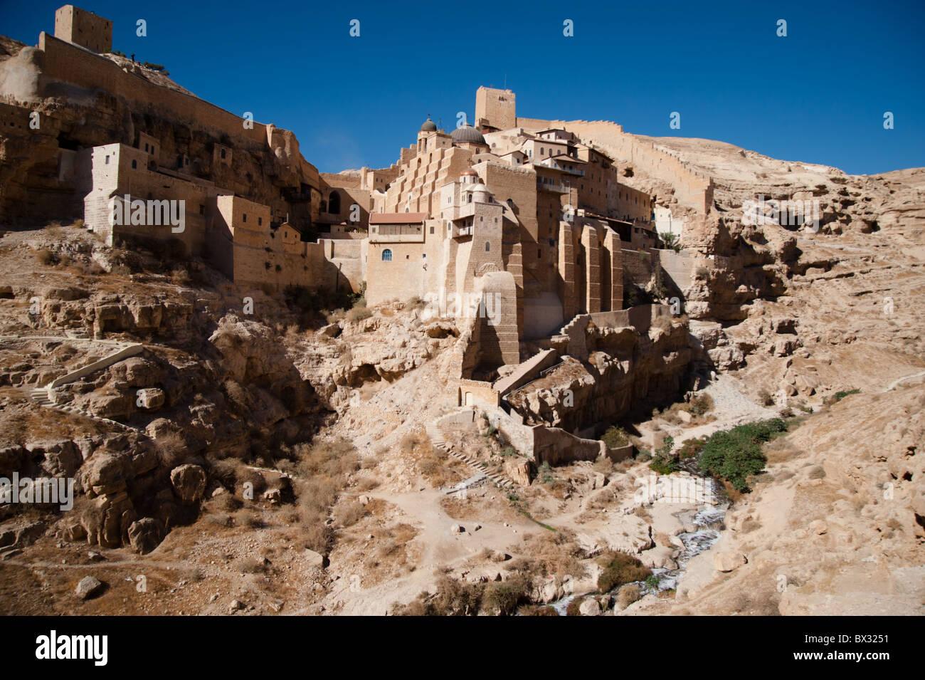 The Mar Saba monastery in the Jordan Valley desert in the West Bank. - Stock Image