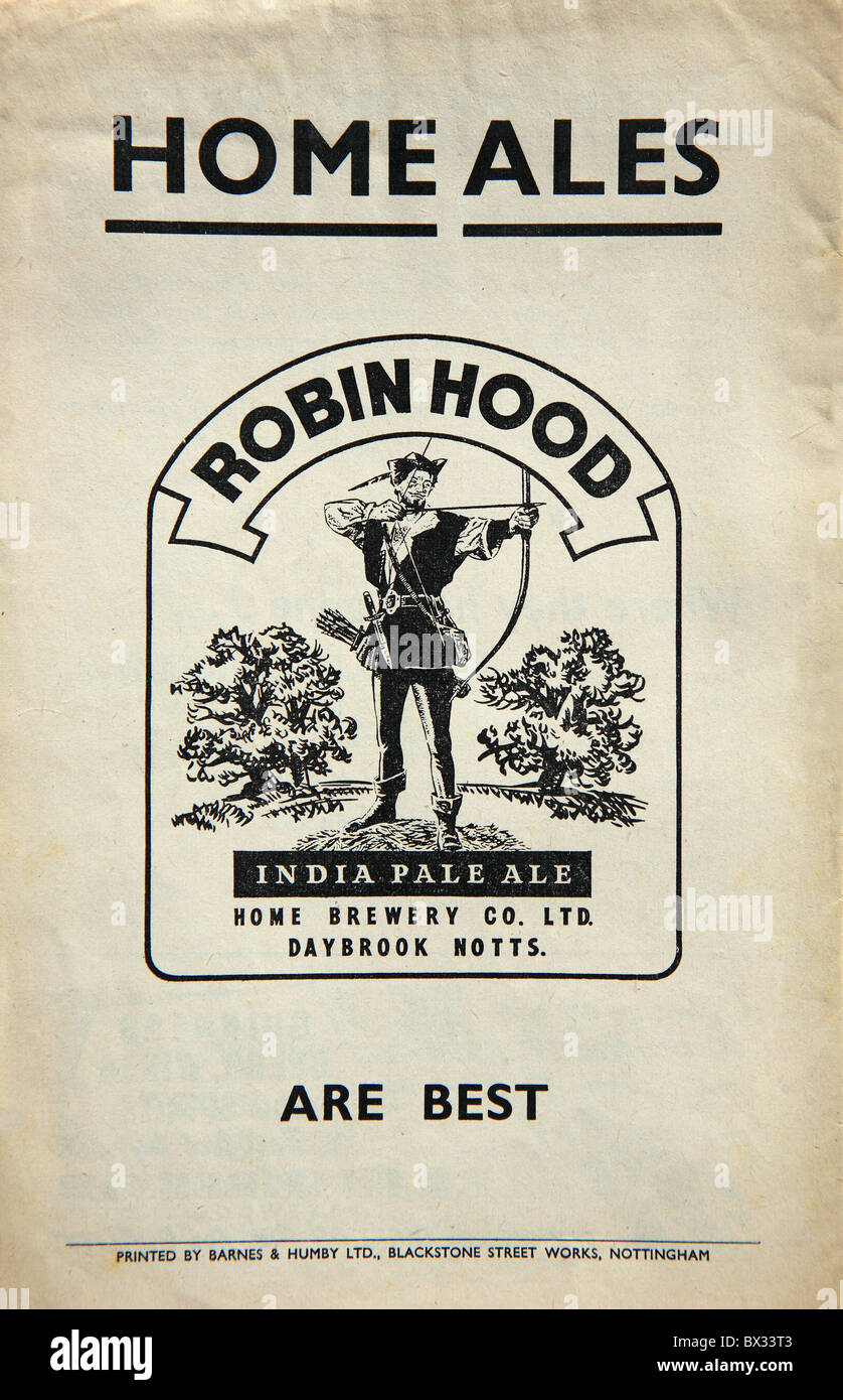 1960's advert for Robin Hood India Pale Ale - Stock Image