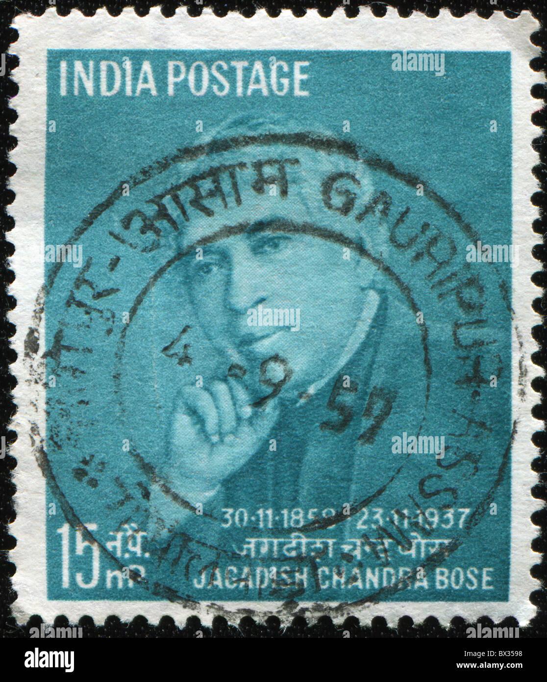INDIA - CIRCA 1958: A Stamp printed in India shows Jagadish Chandra Bose, circa 1958 - Stock Image