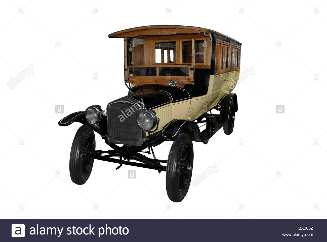 wood and metal old car used as public transport - Stock Image