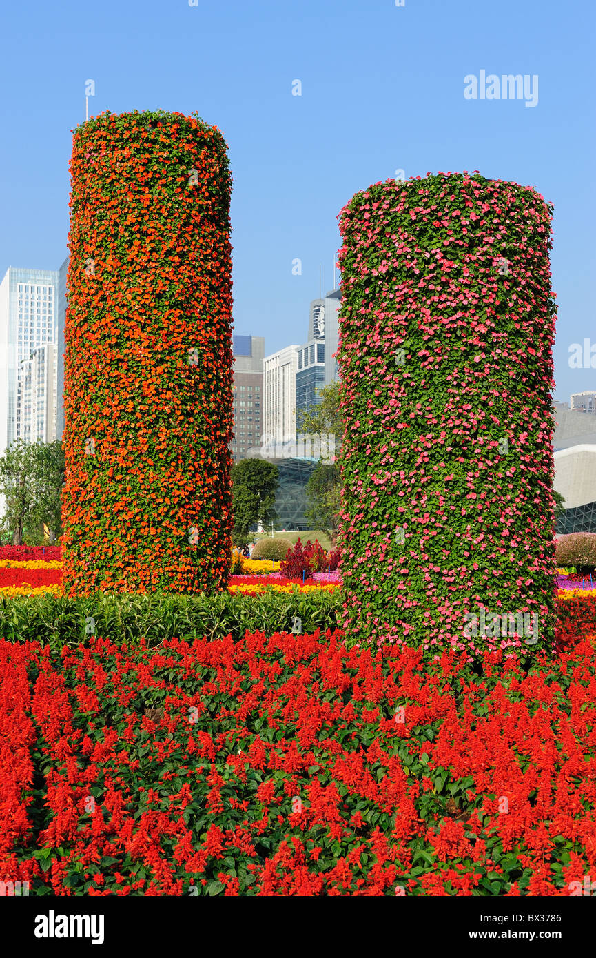 Flowers pillars in Guanghzou City Plaza Stock Photo
