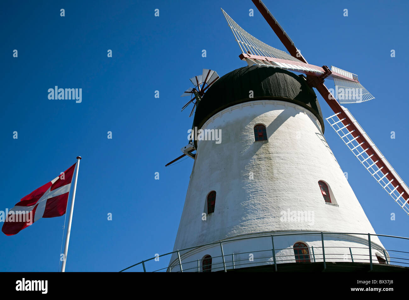 Gudhjem Old Windmill. Gudhjem, Bornholm, Denmark. - Stock Image