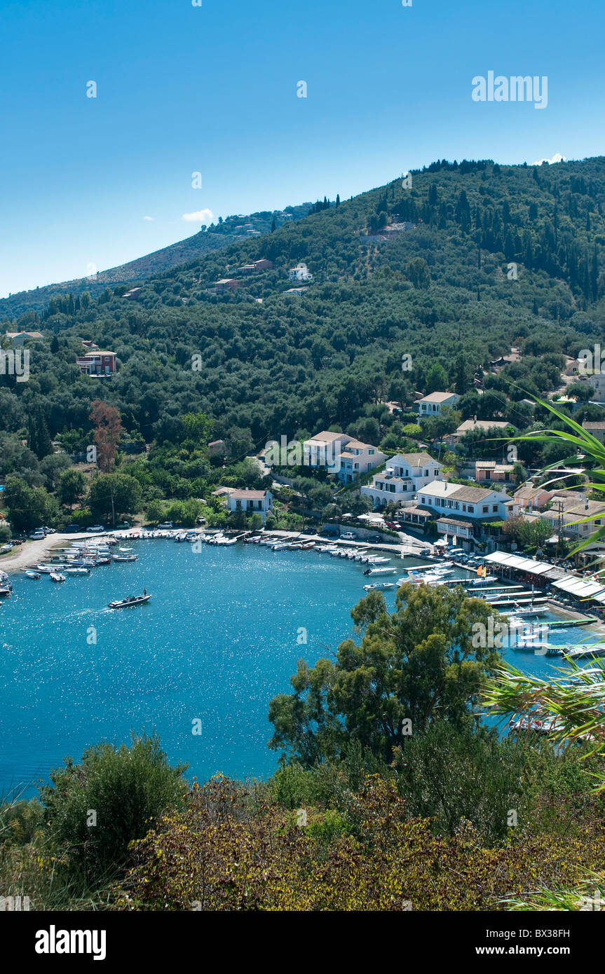Overview of Agios Stefanos Bay, Corfu, Greece - Stock Image