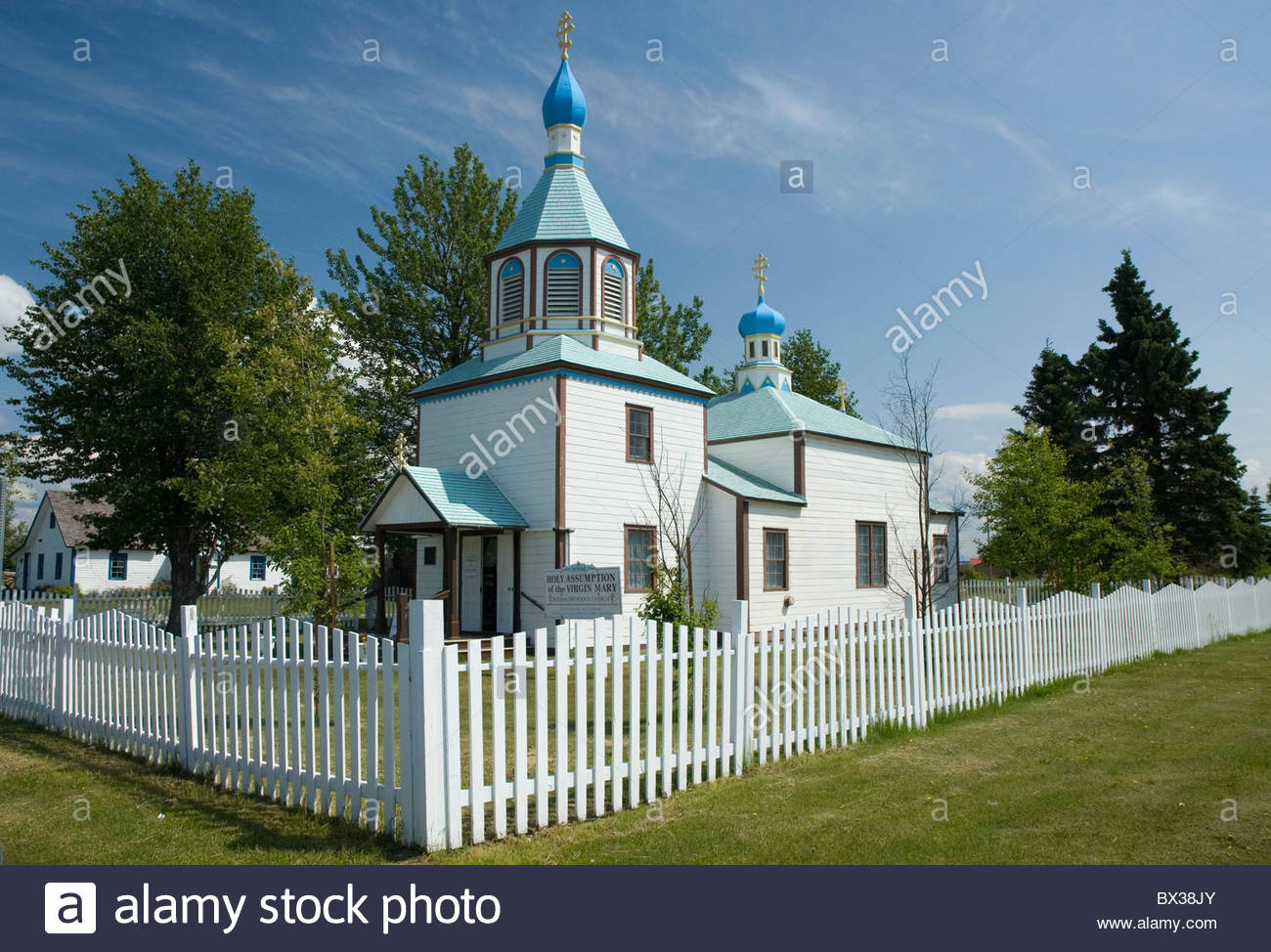 Holy Assumption of the Virgin Mary, Russian Orthodox Church, 1894-1895, Kenai, Alaska. - Stock Image