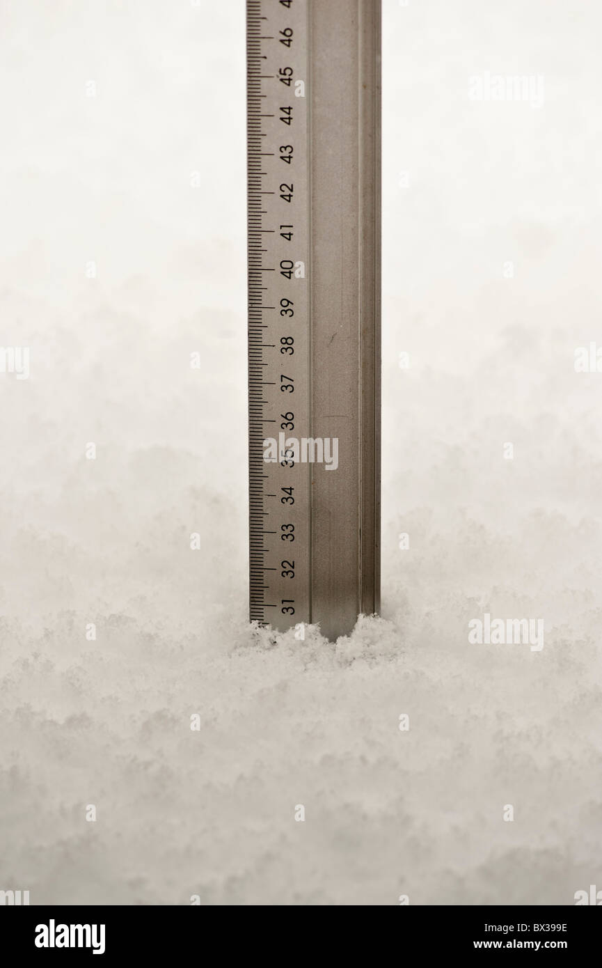 Ruler showing depth of snow - 30cm 300mm - Stock Image