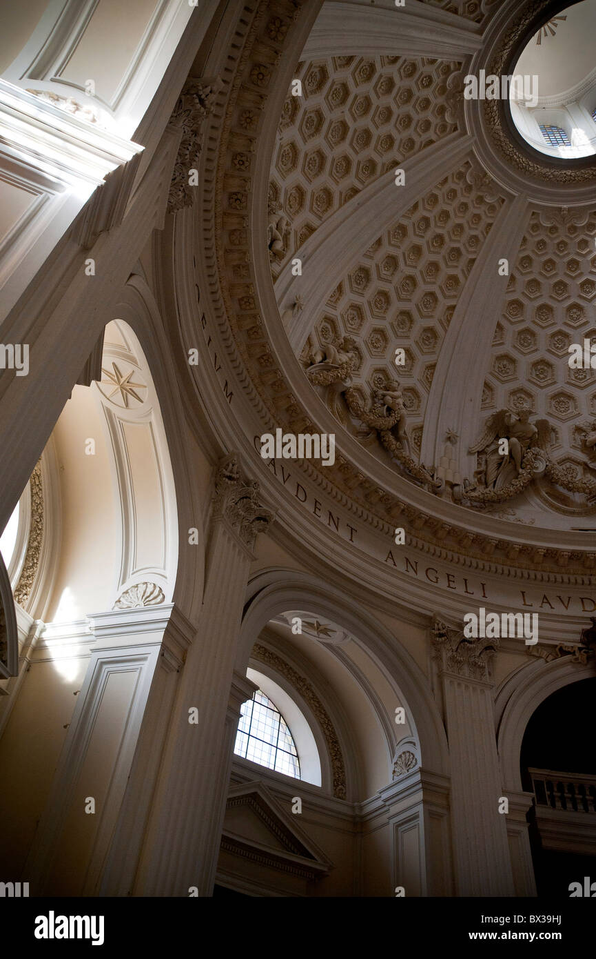 Interior dome Church 'Collegiata di Santa Maria Assunta in Cielo' Ariccia Italy - Stock Image