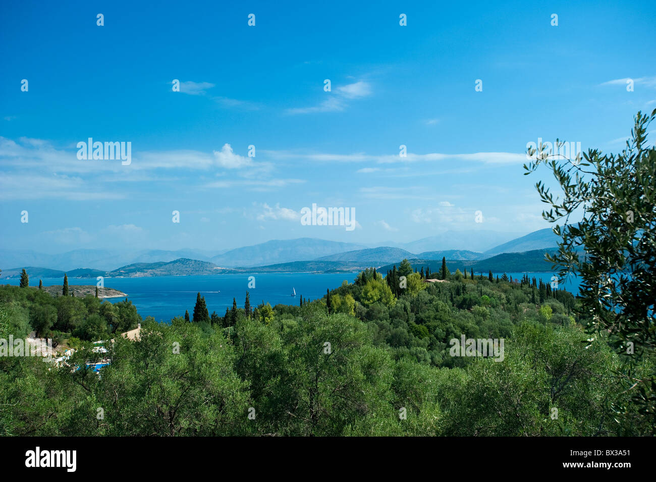 View at Kerasia, Corfu, Greece - Stock Image