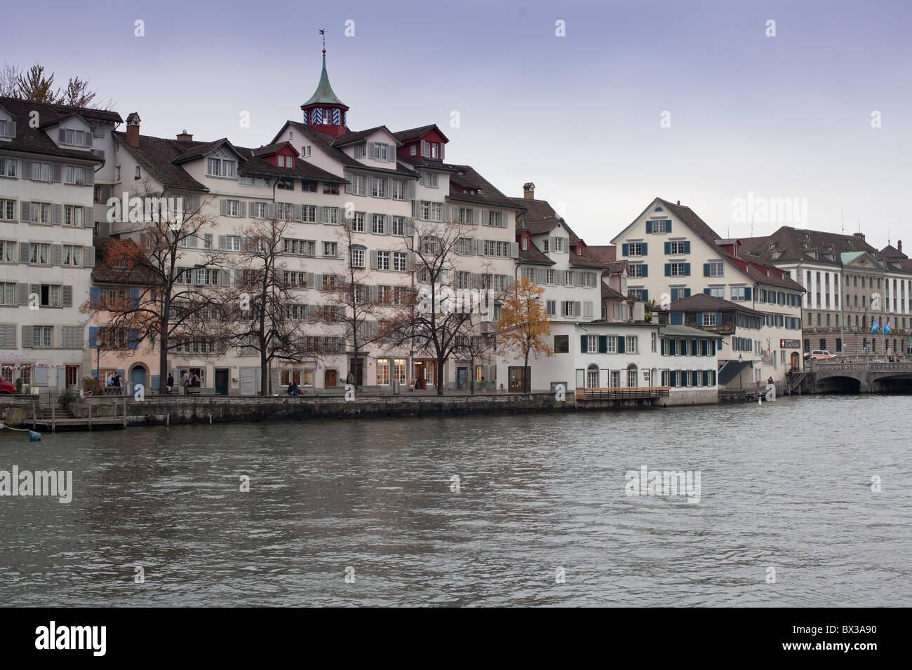 Limmat River, waterfront, Zürich, Switzerland - Stock Image