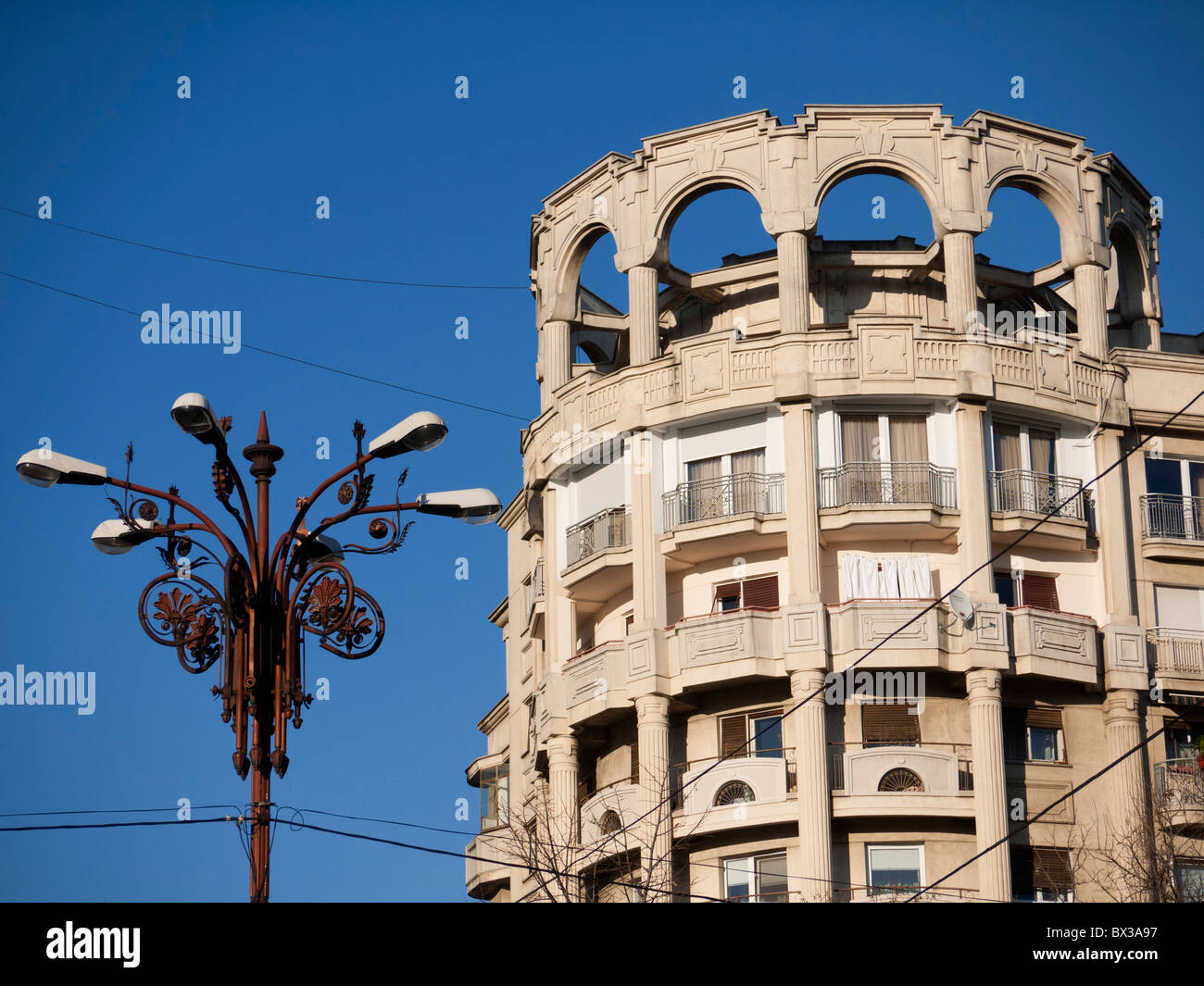 Communist era residential building on Boulevard Unirii in Bucharest Romania Stock Photo