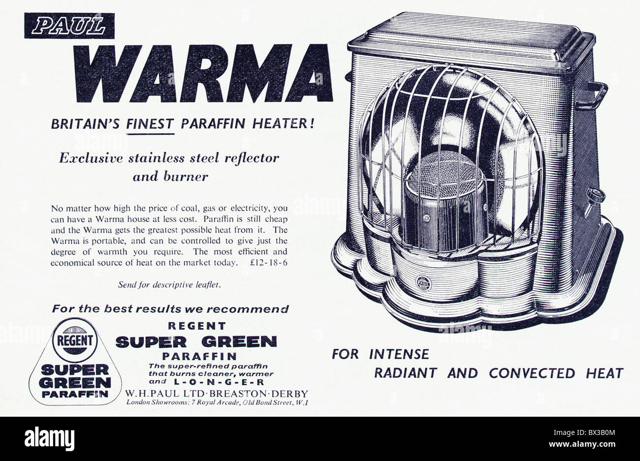 Paraffin heater black and white advert in Punch magazine circa 1958 - Stock Image