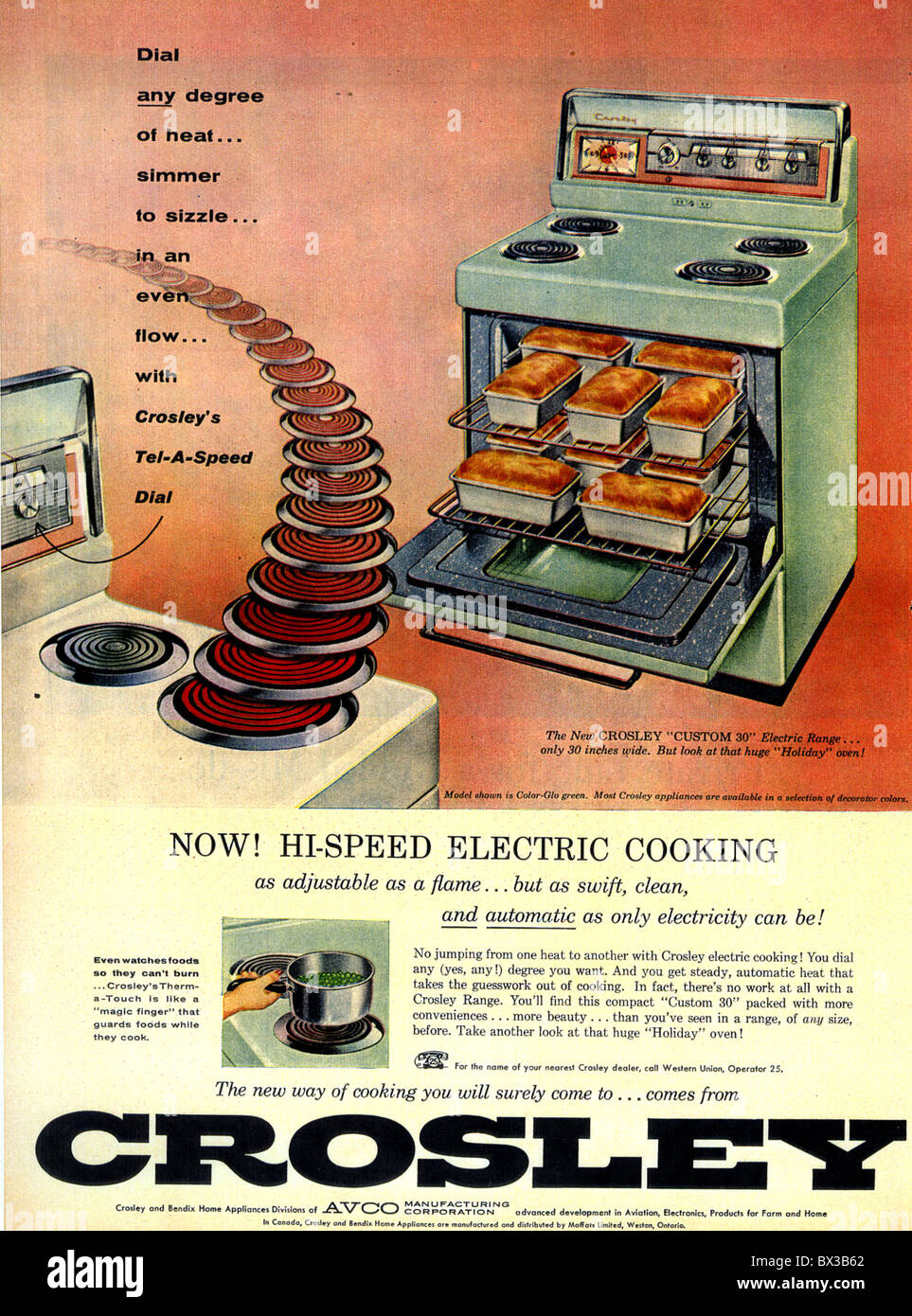 1956 CROSLEY ELECTRIC COOKER advert - Stock Image