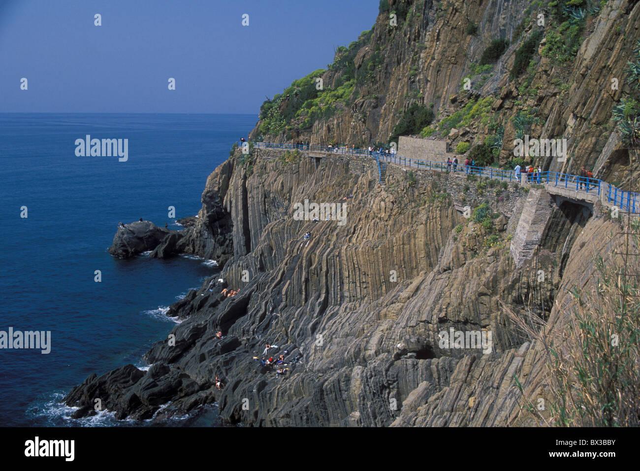 hiking trail Via del Amore west Riomaggiore Cinque Terre Province Ligure Ligurian Sea Mediterranean Sea UNESC - Stock Image
