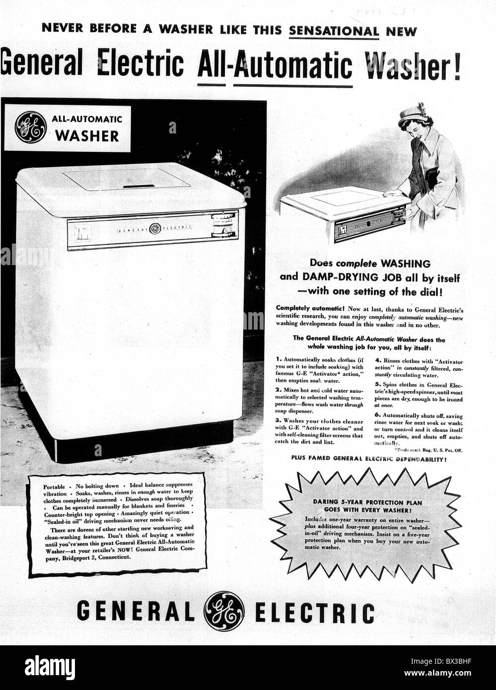 GENERAL ELECTRIC AUTOMATIC WASHER ADVERT 1951 - Stock Image