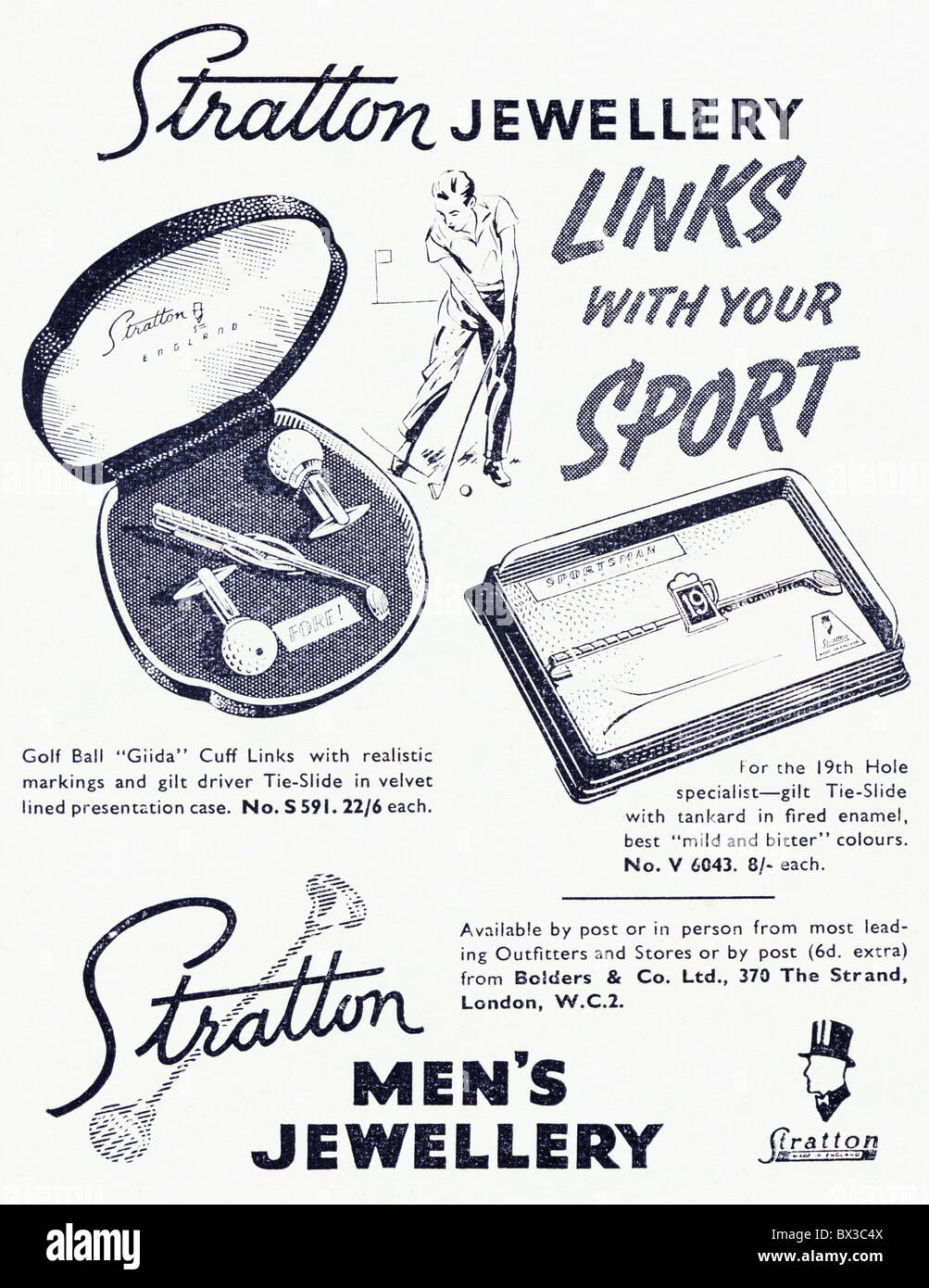 Stratton men's jewellery black and white advert in Punch magazine circa 1958 - Stock Image