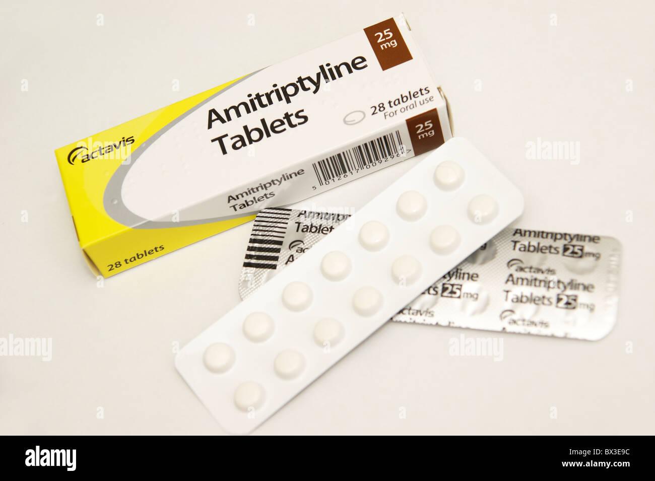 amitriptyline tablets for depression & depressive disorders - Stock Image