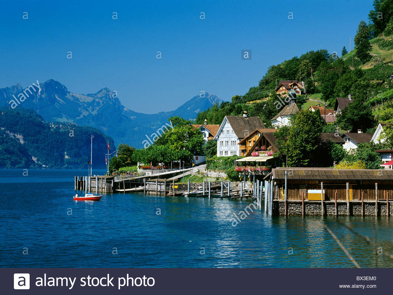 switzerland europe canton st gallen quinten village car free harbor stock photo 33268816 alamy. Black Bedroom Furniture Sets. Home Design Ideas