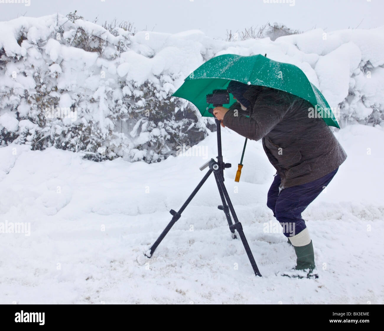 Photographer in challenging wintry conditions. - Stock Image