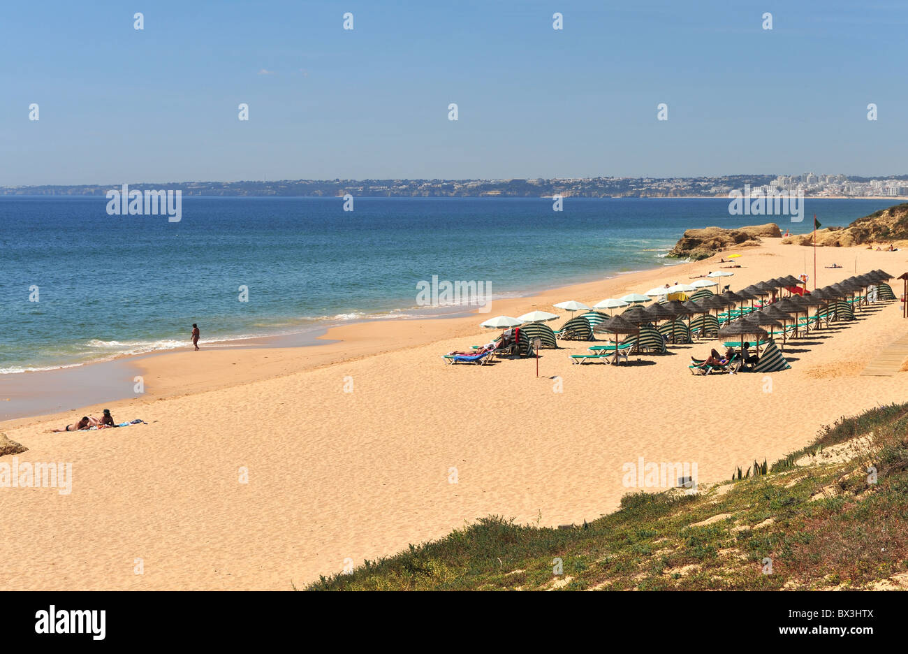 The wide and sandy beach at Gale, Algarve, Portugal - Stock Image