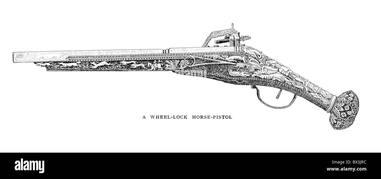 A Wheel-Lock Horse Pistol or Puffer; circa 16th century - Stock Image