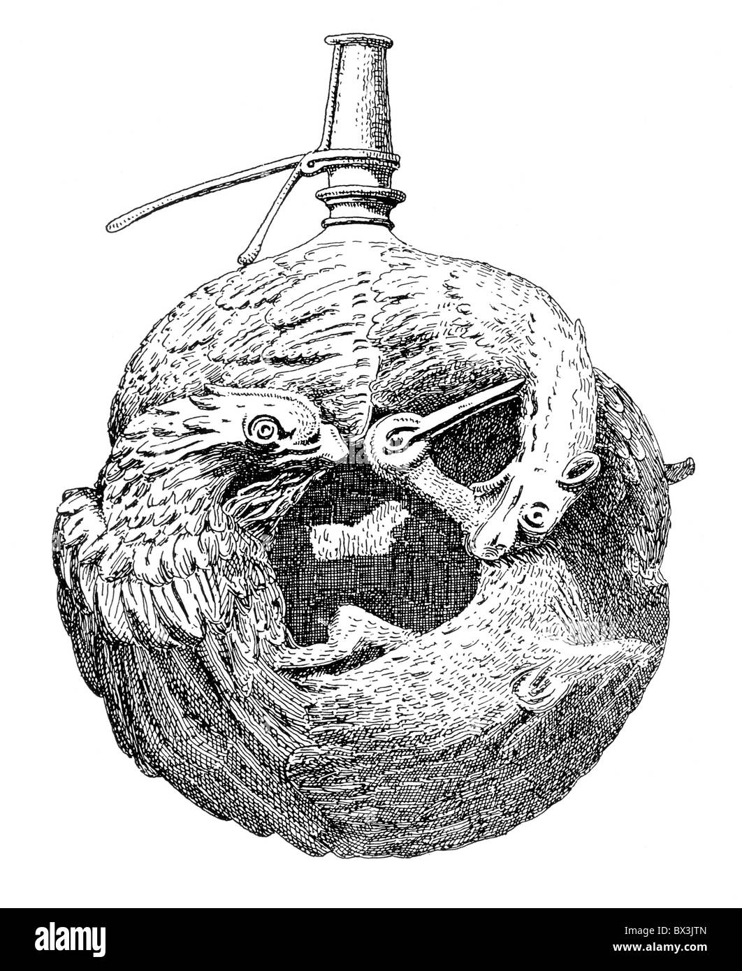 Engraving of a lavishly ornamented Wooden Powder Flask circa 16th century - Stock Image
