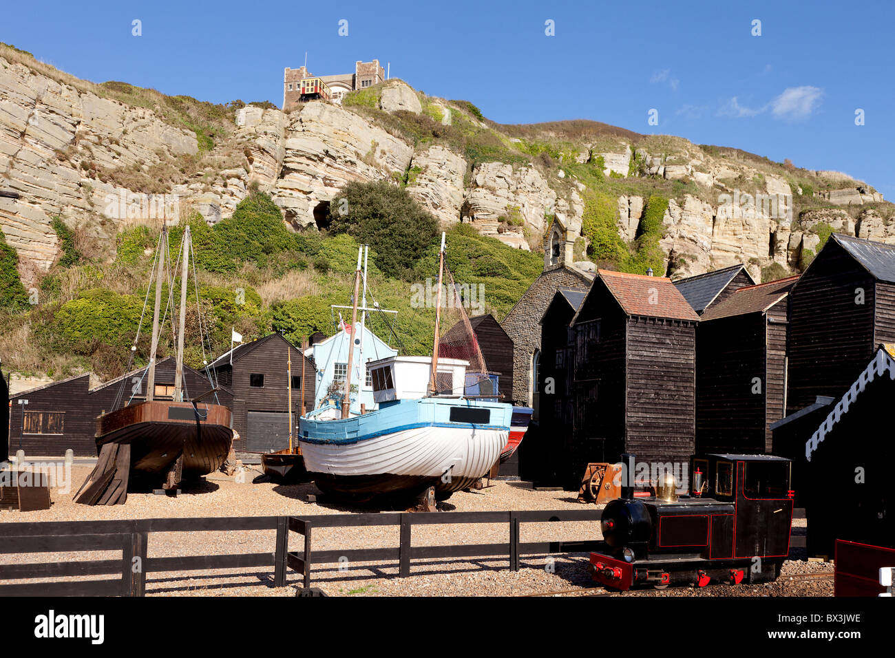 The Rock-a-Nore area and the Stade at Hastings in East Sussex, UK - Stock Image