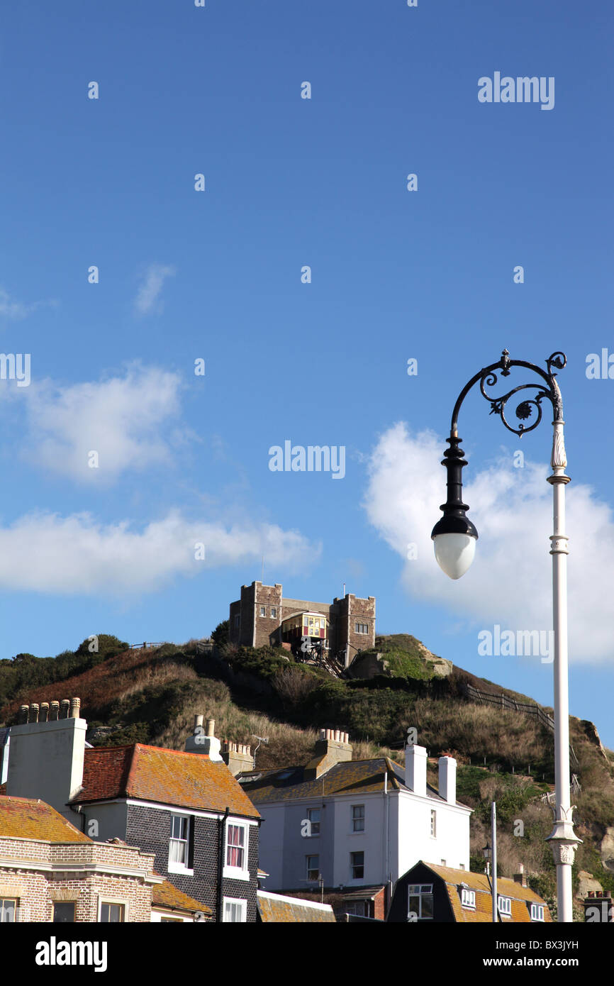 View towards the East Cliff Railway over the rooftops of Hatings old town. - Stock Image
