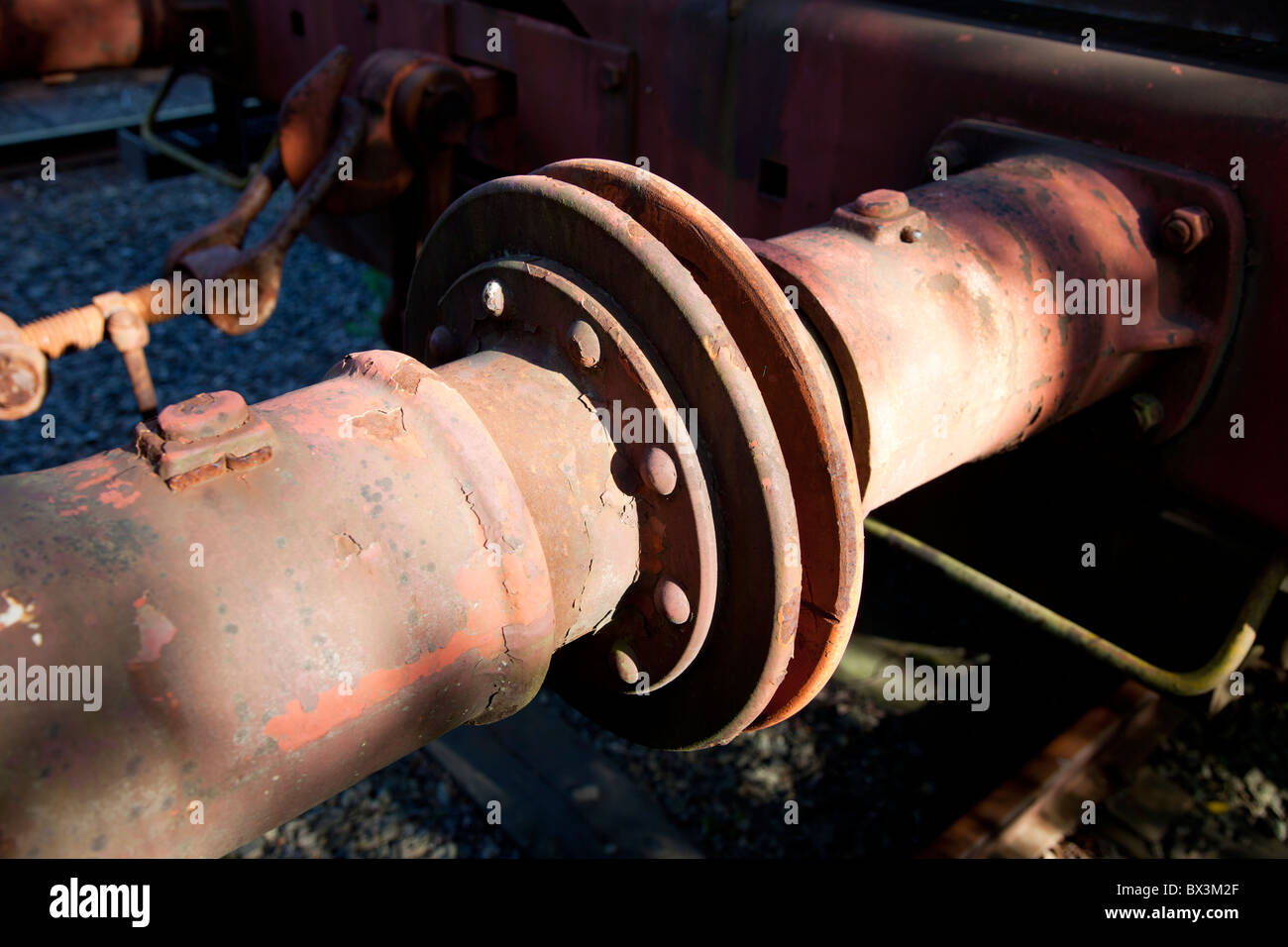 Railroad box-car shock absorber - Stock Image