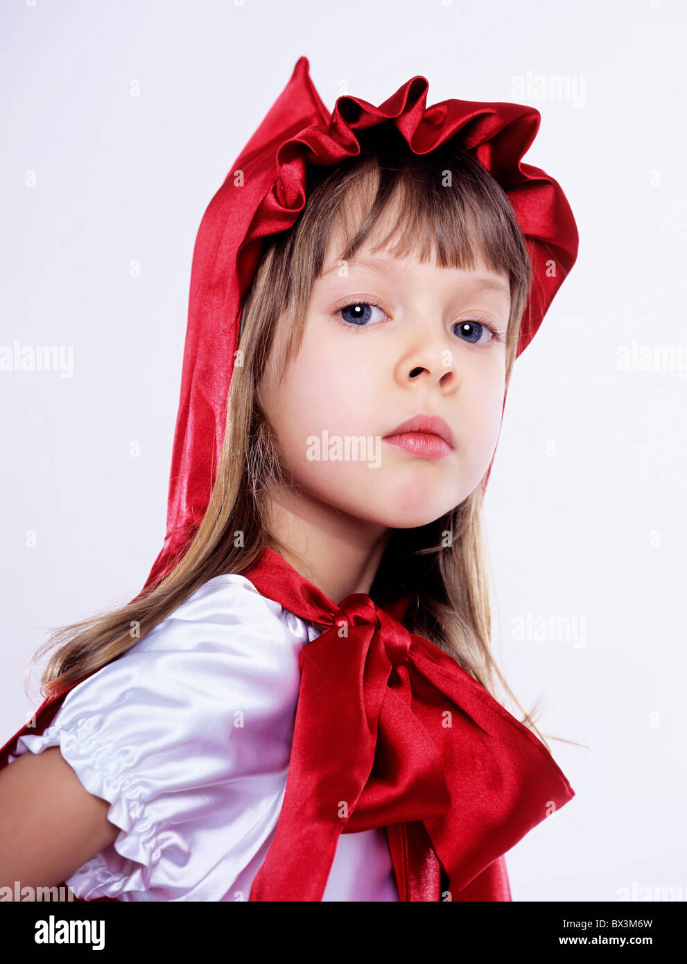 Girl wearing Little Red Riding Hood costume indoors.  sc 1 st  Alamy & Girl wearing Little Red Riding Hood costume indoors Stock Photo ...