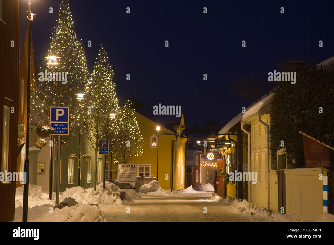 Trosa Small Town By Night Christmas Illuminated Decorations Winter